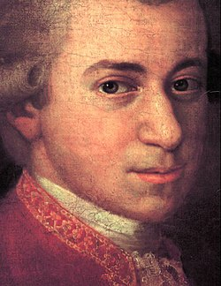 Mozart c. 1780, detail from portrait by Johann Nepomuk della Croce